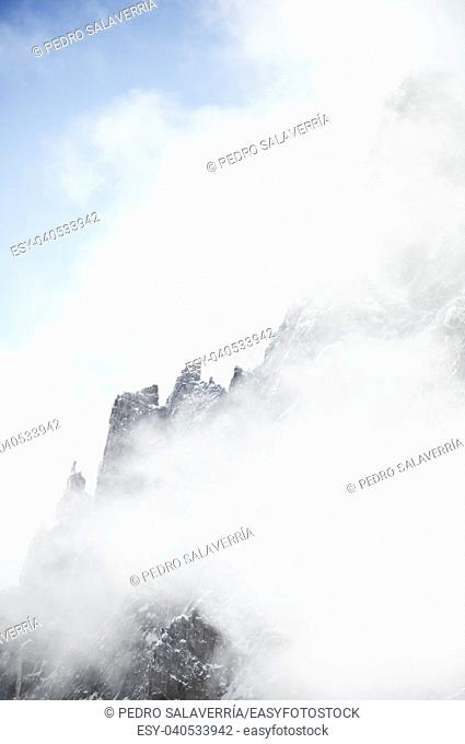 Fog in the mountains, Chamonix, France