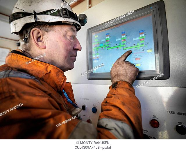 Miner operating process control panel in surface coal mine