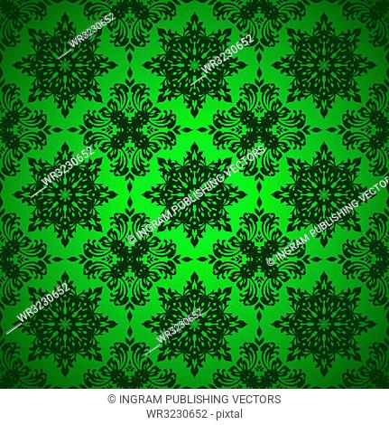 Shades of green seamless repeat background with floral design