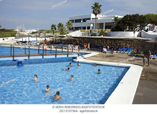 Swimming pool of Insotel Club Maryland, Migjorn beach, Formentera, Balears Islands, Spain. Holiday makers, tourists, Platja de Migjorn, simming pool, Formentera