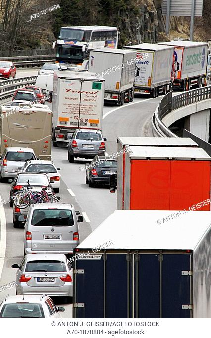 Traffic Jam an Freeway Gotthard Switzerland