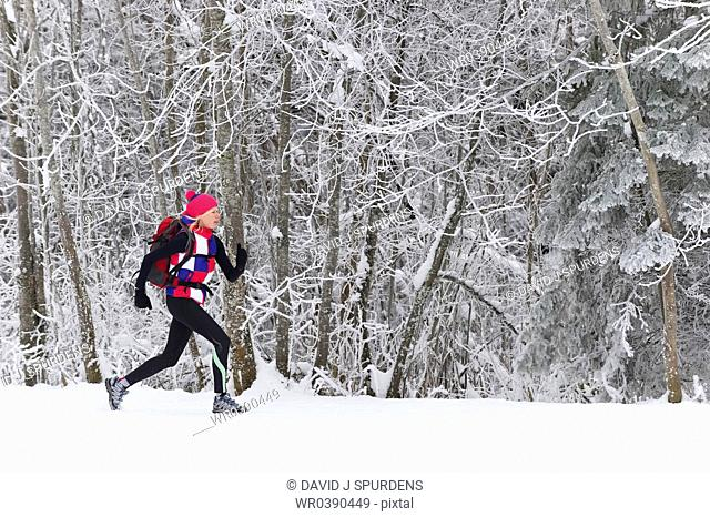 A Jogger running through a frosty forest