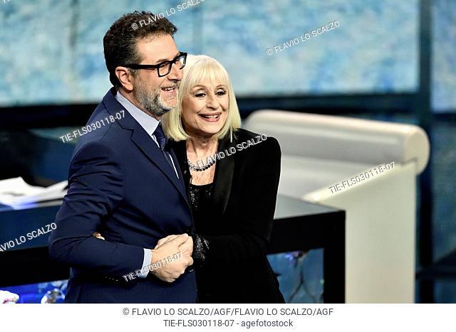 Tv presenter Fabio Fazio, the showgirl Raffaella Carra' during the tv show Che tempo che fa, Milan, ITALY-02-12-2018