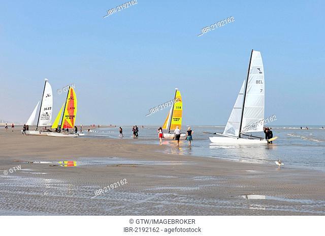 Catamarans on the beach, Oostduinkerke, West Flanders, Belgium, Europe