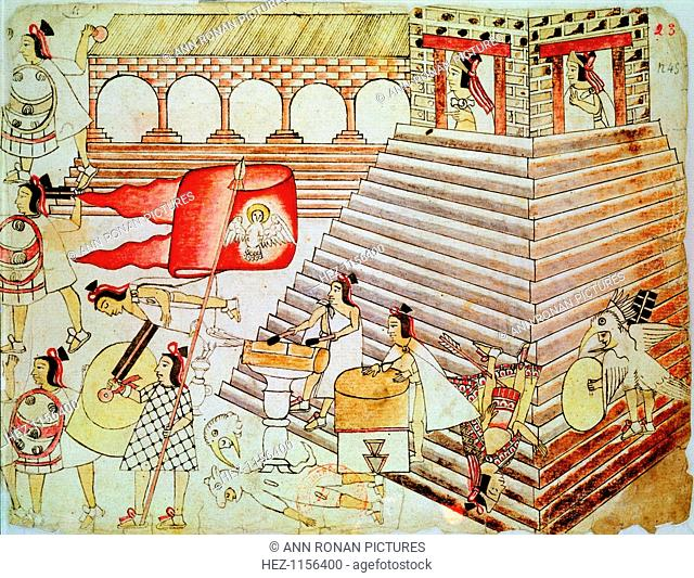 Aztec warriors defending the temple of Tenochtitlan against conquistadors, 1519-1521. Hernando Cortes (1485-1547) Spanish conquistador