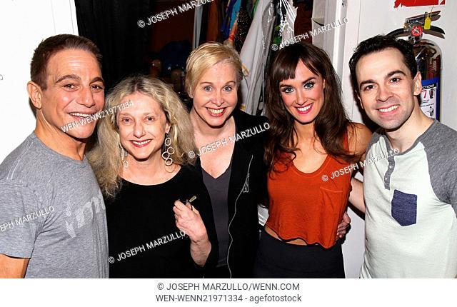 Celebrities backstage at 'Honeymoon In Vegas' Featuring: Tony Danza,Carol Kane,Nancy Opel,Brynn O'Malley,Rob McClure Where: New York, New York