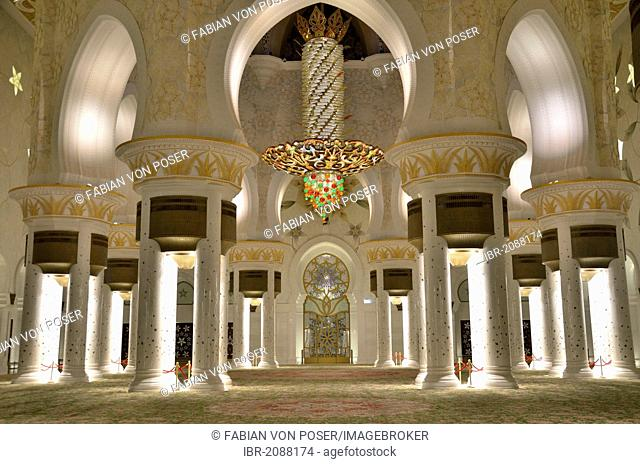 Prayer hall of the Sheikh Zayed Mosque, Abu Dhabi, United Arab Emirates, Arabian Peninsula, Asia