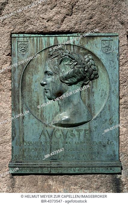 memorial plaque for Auguste, Grand Duchess of Mecklenburg, 1674-1756, Palace Garden Schwerin, Mecklenburg-Vorpommern, Germany