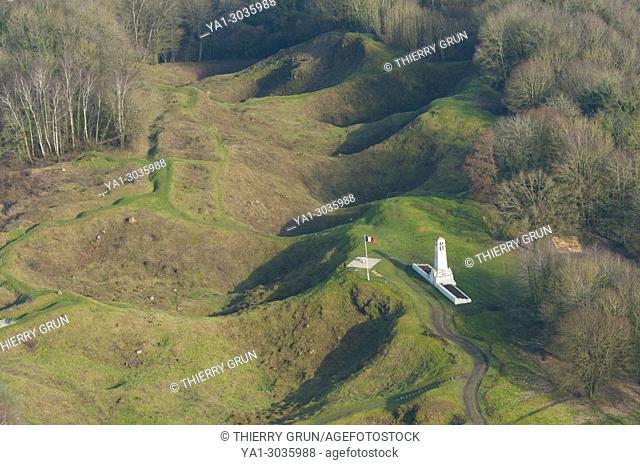 France, Meuse (55), Vauquois, old WWI battle field, hill La Butte de Vauquois (aerial view)