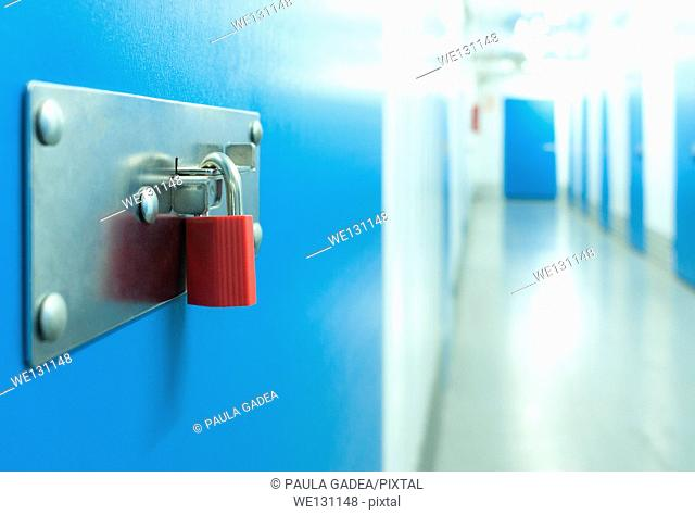 Black and white , Color , Hall , No people , Padlock , Security , Storage