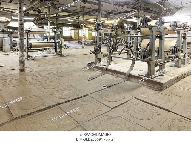 Looms and equipment in textile factory