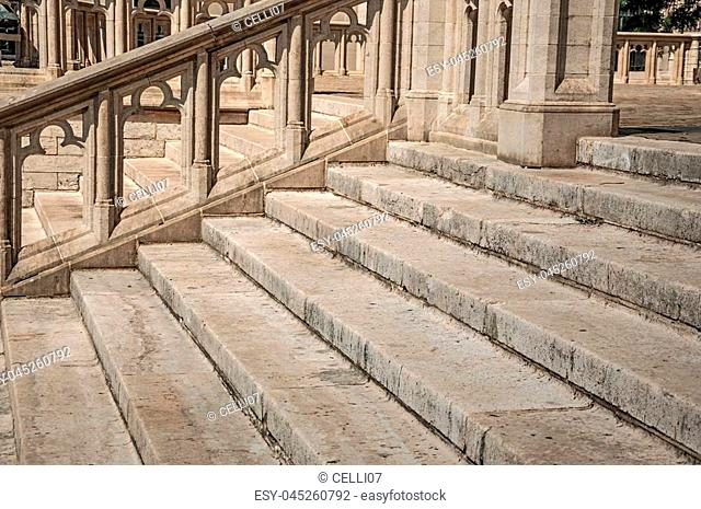 Sculpted stone decoration and staircase at the Cathedral of St. Michael and St. Gudula in Brussels. Vibrant and friendly