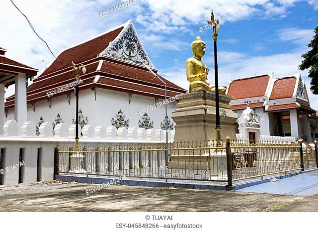 Wat Phaichayon Phon Sep Ratchaworawihan temple for people visit and pray at Amphoe Phra Pradaeng in Samut Prakan, Thailand