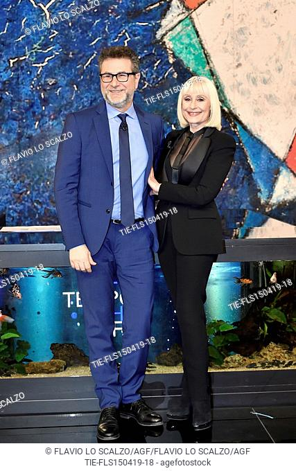 Fabio Fazio, Raffaella Carra' during the tv show Che tempo che fa, Milan, ITALY-14-04-2019