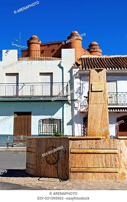 Fountain in town centre with view towards the castle (Castillo de La Calahorra), La Calahorra, Granada Province, Costa Almeria, Andalusia, Spain, Western Europe