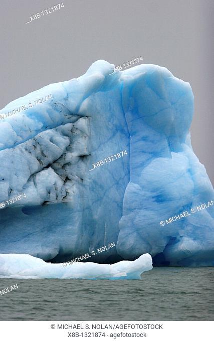 Calved iceberg from the Le Conte Glacier just outside Petersburg, southeast Alaska, USA  Le Conte Glacier is the southernmost tidewater glacier in North America