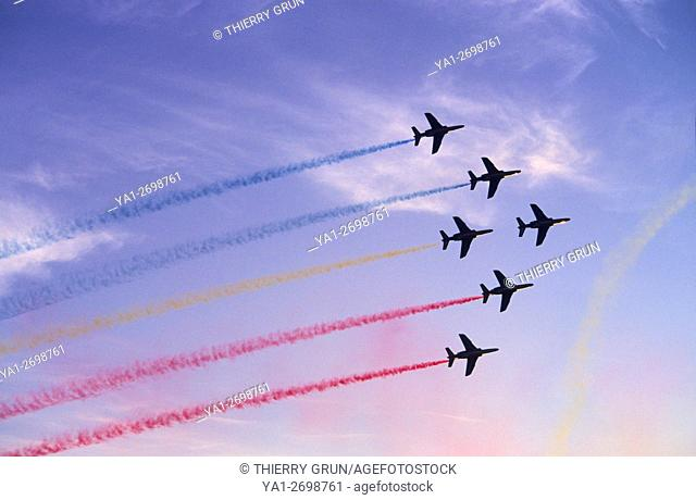 France, Meurthe et Moselle (54), air base of Nancy-Ochey, French aerobatic team La Patrouille de France, airshow during sunset