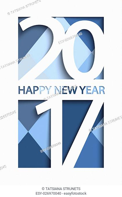 New 2017 year greeting card. Denim colours background, vector illustration