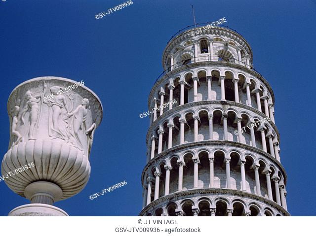 Tower of Pisa against Blue Sky, Low Angle View, Pisa, Italy, 1961