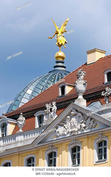 Cosel Palace, golden angel on the dome of Dresden Academy of Fine Arts, historic town centre, Dresden, Saxony, Germany, Europe