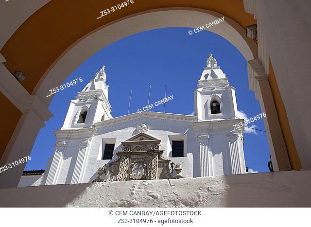 Framed view to the Museo y Iglesia Carmen Del Alto at the historic center, Quito, Ecuador, South America