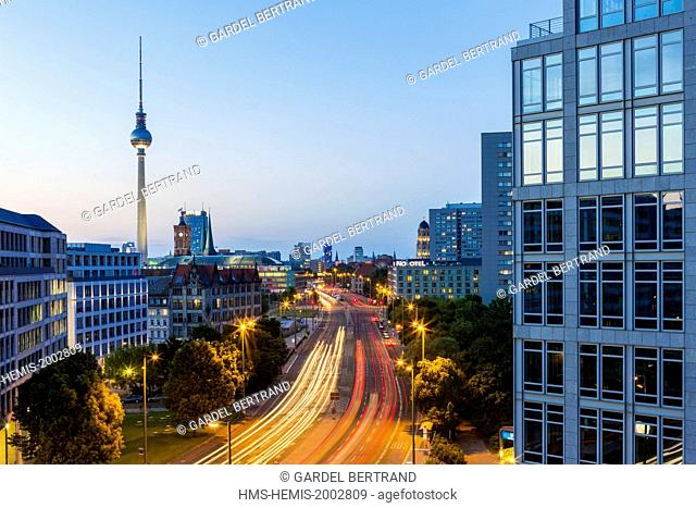 Germany, Berlin, East Berlin's Mitte district, the Leipziger Avenue and TV Tower