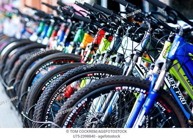 Bicycle shop display, Calle Mallorquin, Encarnacion, Paraguay