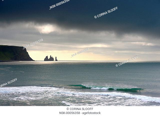 Sea stack silhouettes near Vik, Iceland