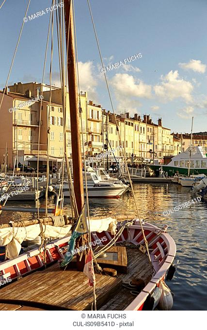 View of boats and harbour, St Tropez, Cote d'Azur, France