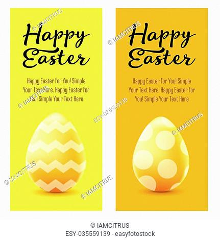 Happy Easter greeting post card with colored eggs and hand drawned text. Vector realistic illustration