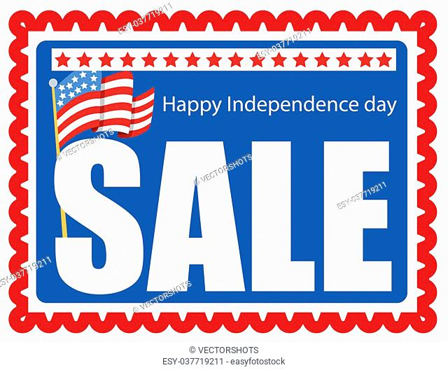 sale stamp - 4th of july Vector Illustration