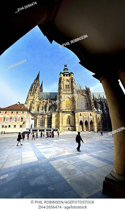 Prague, Czech Republic. St Vitus Cathedral (since 1997, the Metropolitan Cathedral of Saints Vitus, Wenceslaus and Adalbert (Czech: metropolitní katedrála...