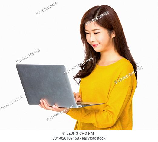Woman use of the laptop computer