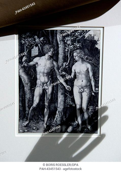 The shadow of a hand on an Adam and Eve picture at the Staedel Museum in Frankfurt Main, Germany, 17 October 2013. The exhibition 'Duerer' about the German...