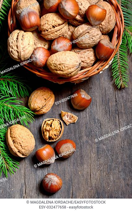 Walnuts and hazelnuts in bowl isolated on old wooden background