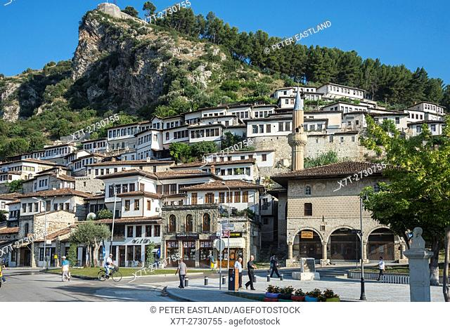 The Bachelors mosque and Mangalemi district with its Ottoman period, houses in the old town of Berat in central Albania