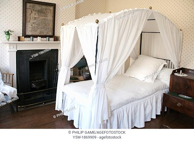 A bedroom in the 18th-century Rosehill House, home of a Quaker family of ironmasters at Coalbrookdale in the Ironbridge Gorge, Shropshire, England