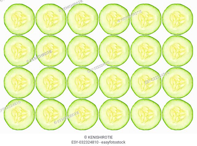 Cucumber slices background isolated on white