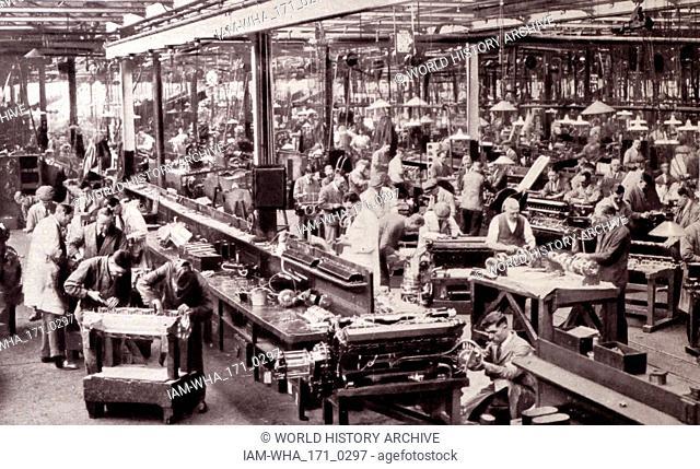Rolls Royce Factory aero-engine at Derby, England circa 1933