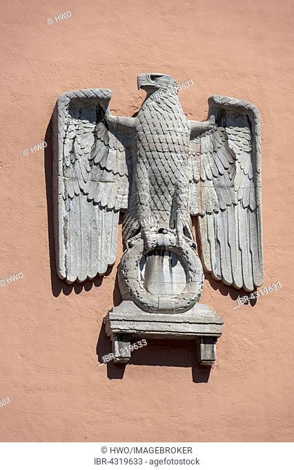Reichsadler, imperial eagle, relief, Oberfinanzdirektion, built in 1941 in the Nazi party NSDAP district, Munich, Upper Bavaria, Bavaria, Germany