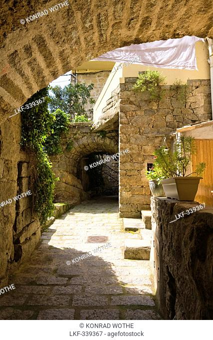 Alley in the old town of Sartene, Corsica, France, Europe