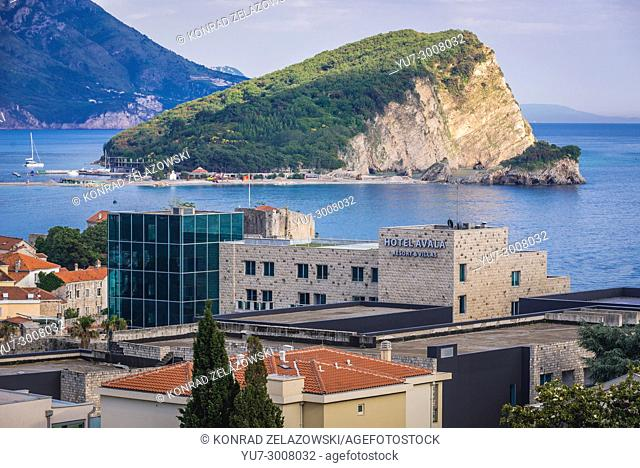 Hotel Avala and Sveti Nikola Island in Budva city on the Adriatic Sea coast in Montenegro