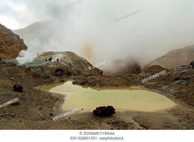 Mud bath in crater of Mutnovsky volcano