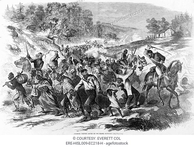In late 1862, Rebel cavalry officers drove Virginia slaves south, away from Union Army lines to prevent their escape. Slaves were 'refugeed' throughout the...