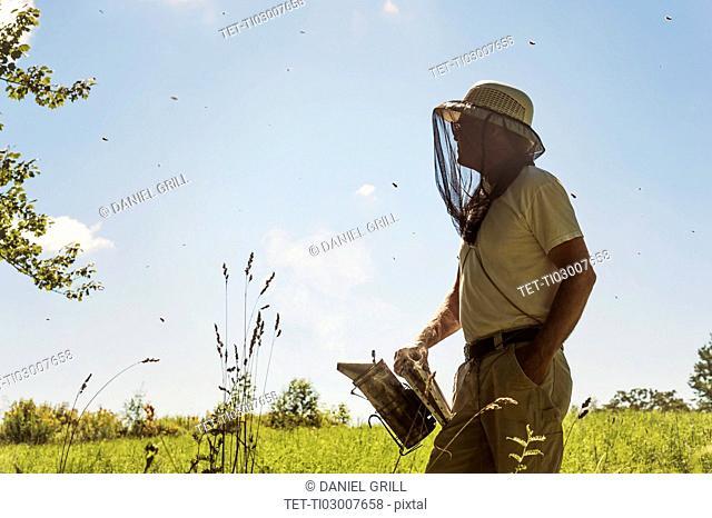 Hope, Beekeeper with smoker