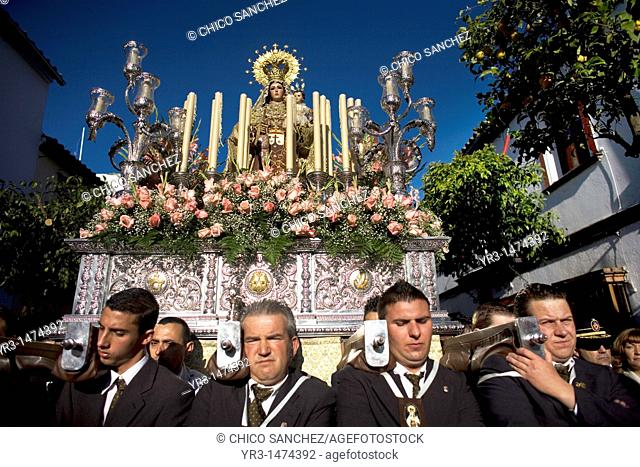 Bearers of religious images carry a Virgin of Carmen sculpture during an Easter procession in the town of Prado del Rey in southern Spain's Cadiz Sierra region...