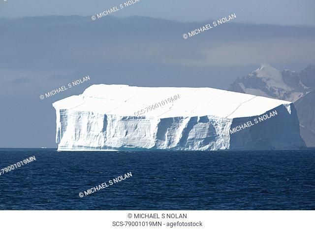 A massive tabular iceberg off the coast of Elephant Island in the South Shetland Island Group, Antarctica