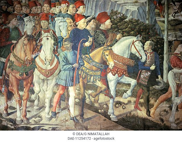The cavalcade of the Magi, 1459, by Benozzo Gozzoli (1420-about 1497), fresco. Detail depicting the parade from the east wall showing Cosimo the Elder