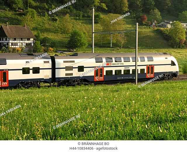 Switzerland, Europe, Zurich S-Bahn, metro railway, S7 Line, RABe 514, Double decker train, SBB, rail, transportation