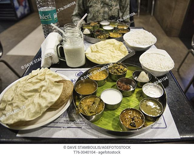 Southern Indian Thali at the legendary Saravana Bhavan Restaurant, New Delhi, India